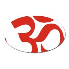 Hindu Om Symbol (red) Oval Magnet by abbeyz71