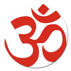 Hindu Om Symbol (red) Magnet 5  (round) by abbeyz71