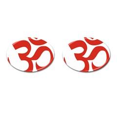 Hindu Om Symbol (red) Cufflinks (oval) by abbeyz71
