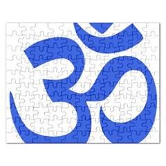 Hindu Om Symbol (royal Blue) Rectangular Jigsaw Puzzl by abbeyz71