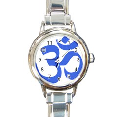 Hindu Om Symbol (royal Blue) Round Italian Charm Watch by abbeyz71