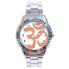 Hindu Om Symbol (salmon) Stainless Steel Analogue Watch by abbeyz71