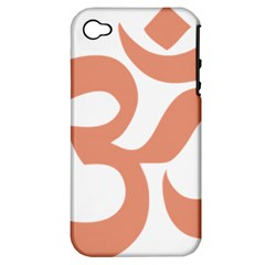 Hindu Om Symbol (salmon) Apple Iphone 4/4s Hardshell Case (pc+silicone) by abbeyz71