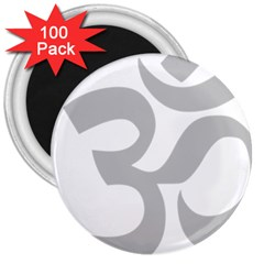 Hindu Om Symbol (gray) 3  Magnets (100 Pack) by abbeyz71