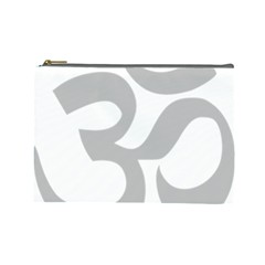 Hindu Om Symbol (gray) Cosmetic Bag (large)  by abbeyz71
