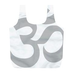 Hindu Om Symbol (gray) Full Print Recycle Bags (l)  by abbeyz71