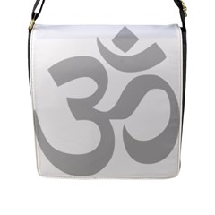 Hindu Om Symbol (gray) Flap Messenger Bag (l)  by abbeyz71