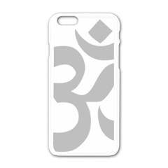 Hindu Om Symbol (gray) Apple Iphone 6/6s White Enamel Case by abbeyz71