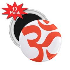 Hindu Om Symbol (peach) 2 25  Magnets (10 Pack)  by abbeyz71