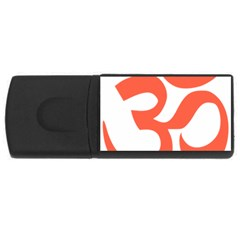 Hindu Om Symbol (peach) Usb Flash Drive Rectangular (4 Gb) by abbeyz71