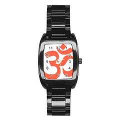 Hindu Om Symbol (peach) Stainless Steel Barrel Watch by abbeyz71