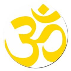 Hindu Om Symbol (yellow) Magnet 5  (round) by abbeyz71