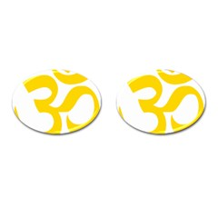 Hindu Om Symbol (yellow) Cufflinks (oval) by abbeyz71