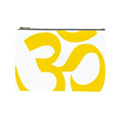Hindu Om Symbol (yellow) Cosmetic Bag (large)  by abbeyz71