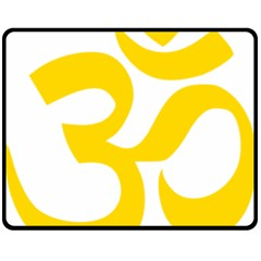 Hindu Om Symbol (yellow) Fleece Blanket (medium)  by abbeyz71