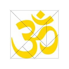 Hindu Om Symbol (yellow) Acrylic Tangram Puzzle (4  X 4 ) by abbeyz71
