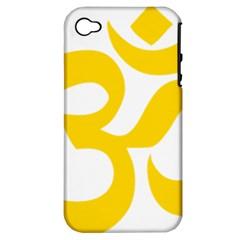 Hindu Om Symbol (yellow) Apple Iphone 4/4s Hardshell Case (pc+silicone) by abbeyz71