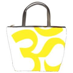 Hindu Om Symbol (yellow) Bucket Bags by abbeyz71