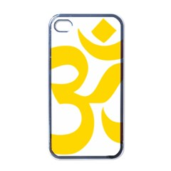 Hindu Om Symbol (yellow) Apple Iphone 4 Case (black) by abbeyz71