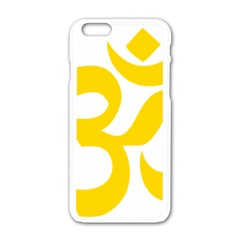 Hindu Om Symbol (yellow) Apple Iphone 6/6s White Enamel Case by abbeyz71