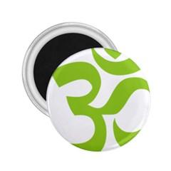 Hindu Om Symbol (lime Green) 2 25  Magnets by abbeyz71