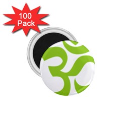 Hindu Om Symbol (lime Green) 1 75  Magnets (100 Pack)  by abbeyz71