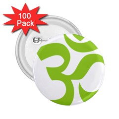 Hindu Om Symbol (lime Green) 2 25  Buttons (100 Pack)  by abbeyz71