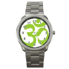Hindu Om Symbol (lime Green) Sport Metal Watch by abbeyz71