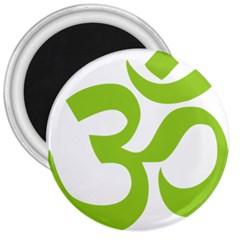 Hindu Om Symbol (lime Green) 3  Magnets by abbeyz71