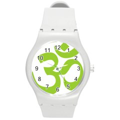 Hindu Om Symbol (lime Green) Round Plastic Sport Watch (m) by abbeyz71