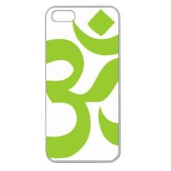 Hindu Om Symbol (lime Green) Apple Seamless Iphone 5 Case (clear) by abbeyz71