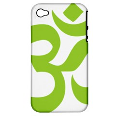Hindu Om Symbol (lime Green) Apple Iphone 4/4s Hardshell Case (pc+silicone) by abbeyz71