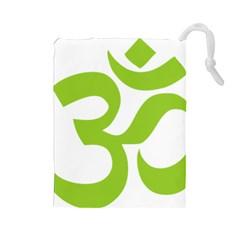 Hindu Om Symbol (lime Green) Drawstring Pouches (large)  by abbeyz71