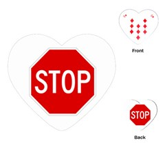 Stop Sign Playing Cards (heart)  by Valentinaart
