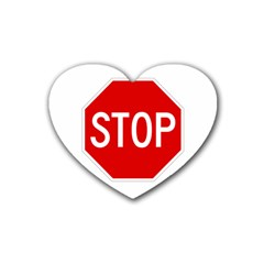 Stop Sign Rubber Coaster (heart)  by Valentinaart
