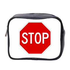 Stop Sign Mini Toiletries Bag 2 Side by Valentinaart