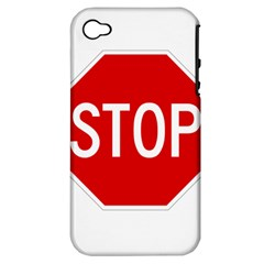 Stop Sign Apple Iphone 4/4s Hardshell Case (pc+silicone) by Valentinaart
