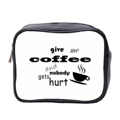 Give Me Coffee And Nobody Gets Hurt Mini Toiletries Bag 2 Side by Valentinaart
