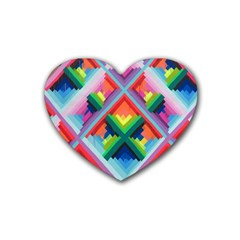 Rainbow Chem Trails Rubber Coaster (heart)