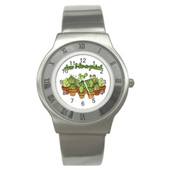 Cactus   Dont Be A Prick Stainless Steel Watch by Valentinaart