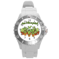 Cactus   Dont Be A Prick Round Plastic Sport Watch (l)