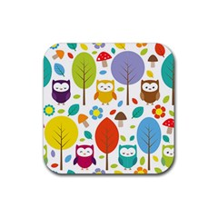 Cute Owl Rubber Square Coaster (4 Pack)  by Nexatart