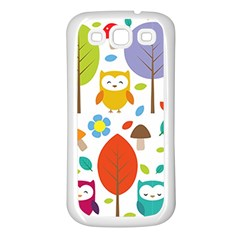 Cute Owl Samsung Galaxy S3 Back Case (white) by Nexatart
