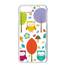 Cute Owl Apple Iphone 7 Plus White Seamless Case by Nexatart