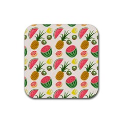 Fruits Pattern Rubber Square Coaster (4 Pack)  by Nexatart