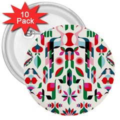 Abstract Peacock 3  Buttons (10 Pack)