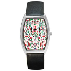 Abstract Peacock Barrel Style Metal Watch by Nexatart
