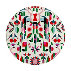 Abstract Peacock Round Ornament (two Sides) by Nexatart