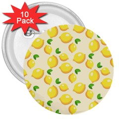 Lemons Pattern 3  Buttons (10 Pack)  by Nexatart