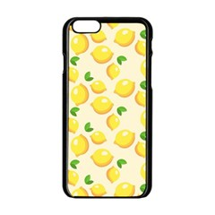 Lemons Pattern Apple Iphone 6/6s Black Enamel Case by Nexatart
